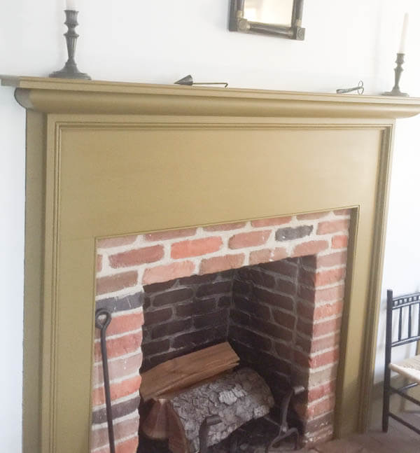 Primitive farmhouse style fireplace