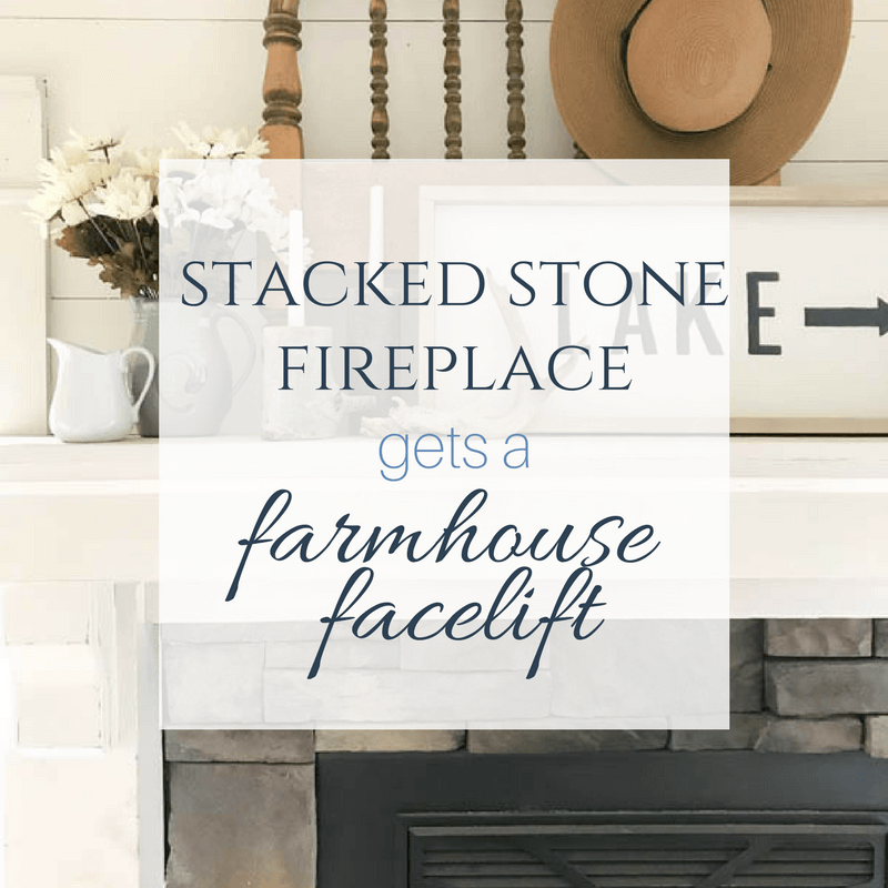 you have to see how they tansformed this fireplace into a farmhouse style stacked stone fireplace