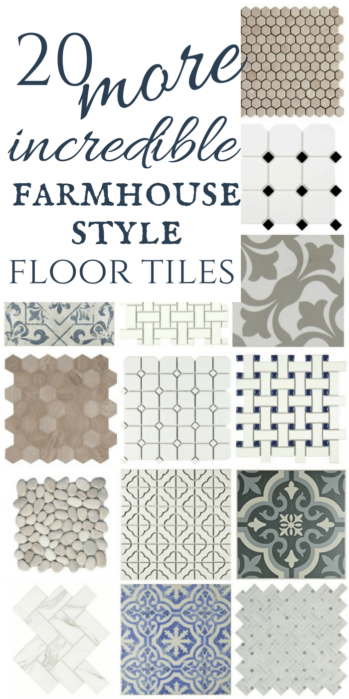 What a great collection of modern farmhouse tiles! check out the awesome neutrals, mosaics, and painted ceramic floor tiles!