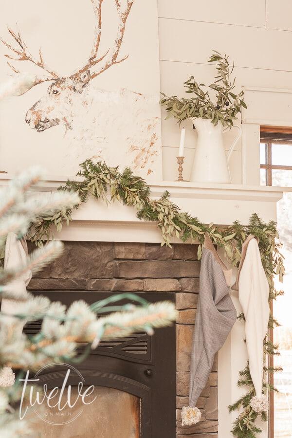 A Cozy and Simple Farmhouse Christmas Living Room