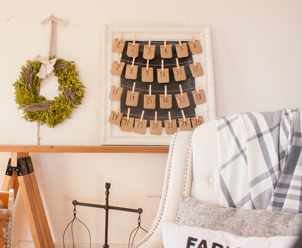 Framed Chalkboard advent calendar looks perfect in a farmhouse style home and can be customized in any way.