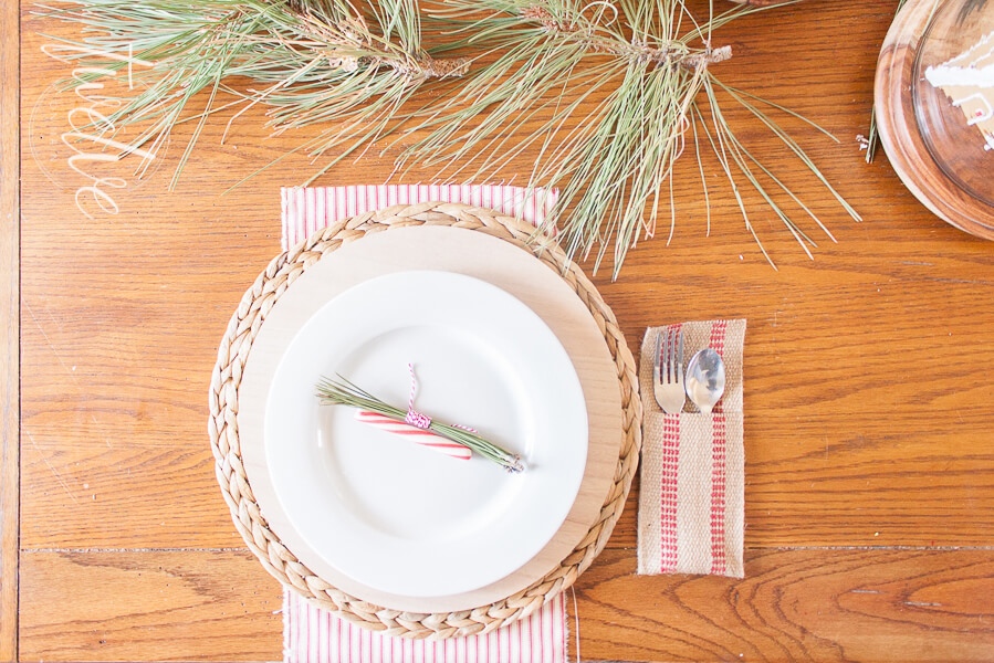 Red and White Farmhouse Christmas Tablescape
