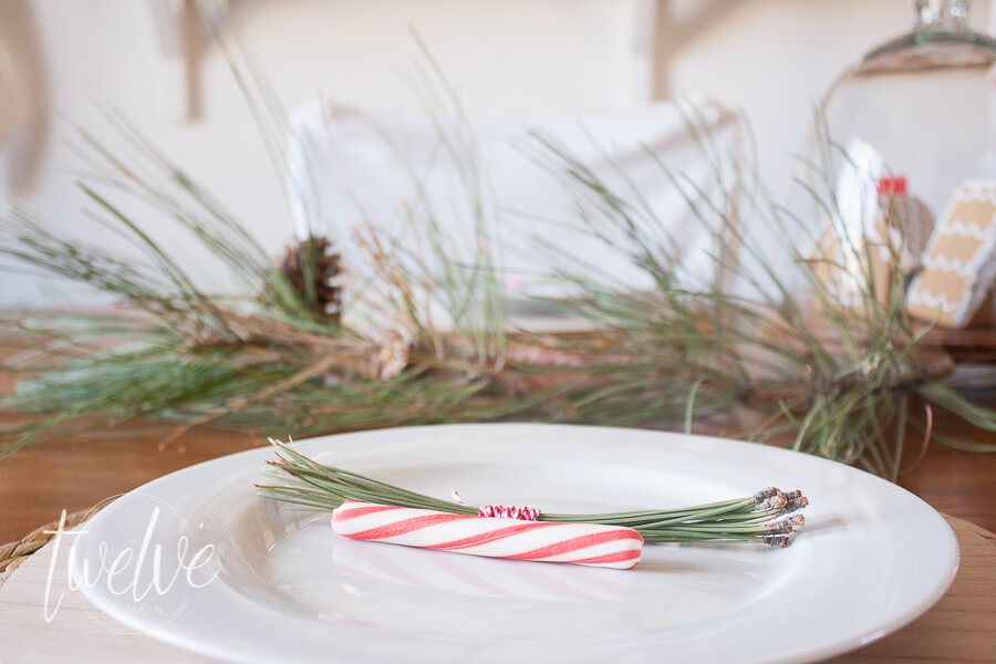 Create a classic red and white farmhouse Christmas tablescape with mini gingerbread houses, red ticking stripe fabric, and nature inspired elements.