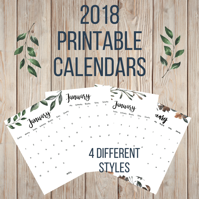 Free 2018 printable calendars twelve on main 4 different farmhouse 2018 printable calendars available for free solutioingenieria Choice Image