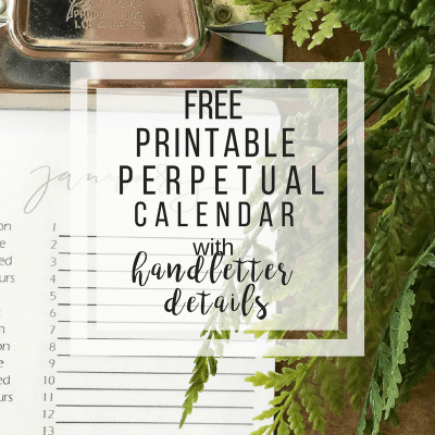 FREE Printable Calendar for 2018 with Handlettered Details
