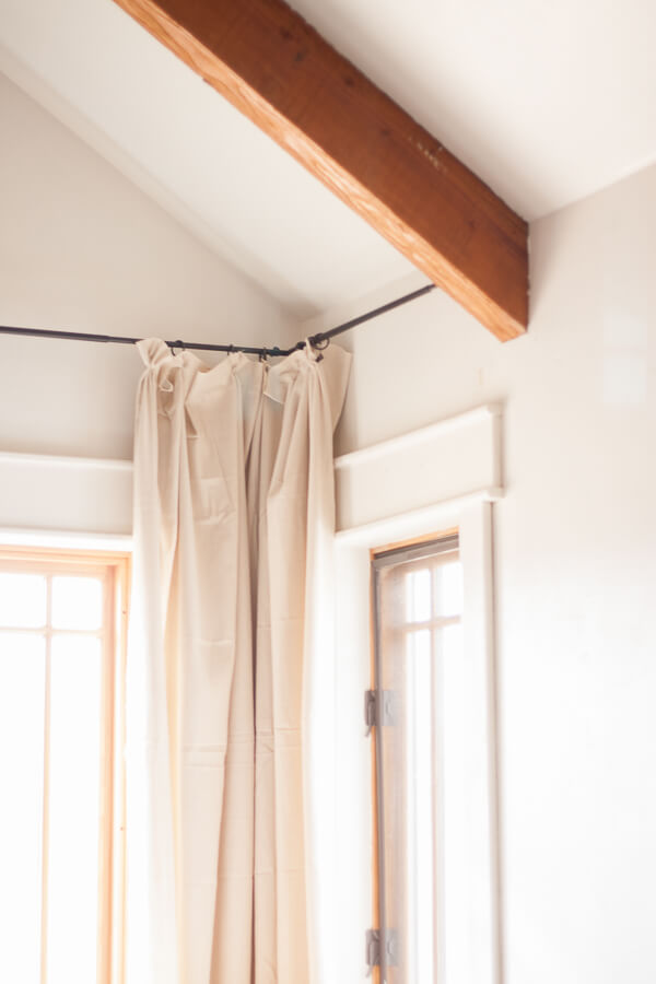 Make the easiest no sew drop cloth curtains!