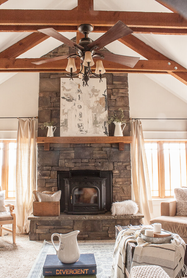 Wood beams in the living room.