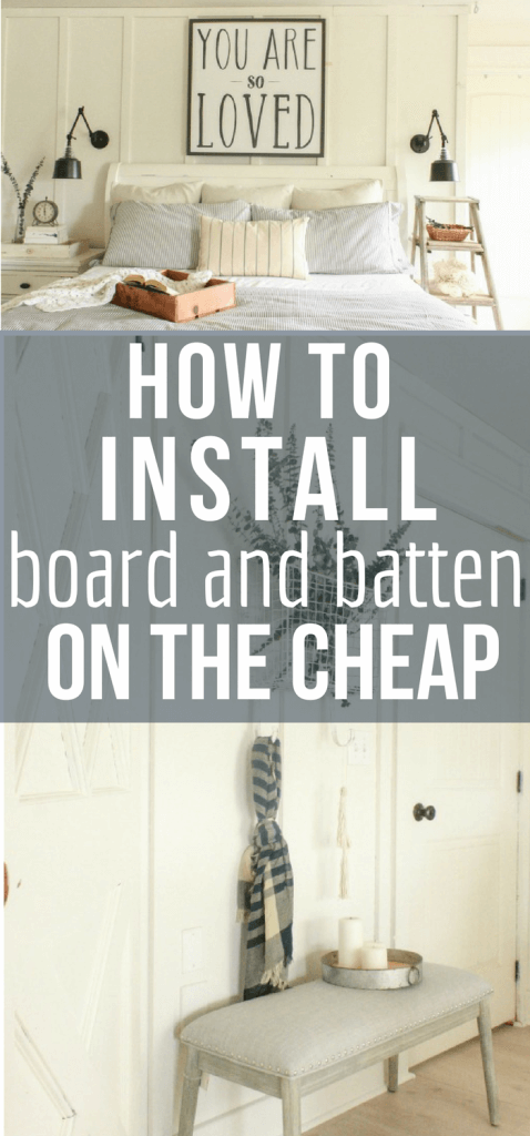 Create the farmhouse look in your home for less! Learn how to install this board and batten wall treatment to your home on the cheap!!