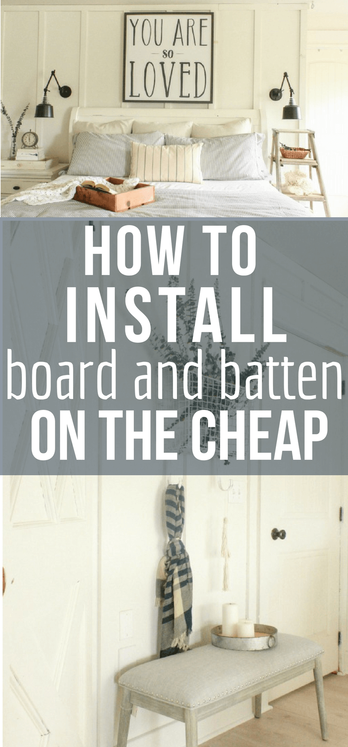 So you want to create a bit of interest to your home decor?  Try creating these DIY farmhouse style board and batten walls on the cheap with this step by step tutorial! #farmhouse #diyproject #boardandbatten