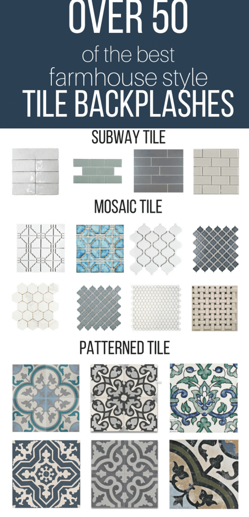 Over 50 of the best farmhouse style tile backsplash ideas for your kitchen, bathroom, or laundry room. #TwelveOnMain #backsplash #tiles