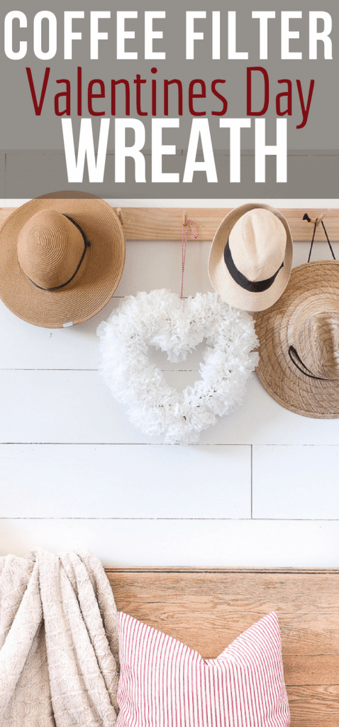 Make this super easy coffee filter wreath for Valentines day, even if you hate to decorate! This is an easy way to add a bit of festive Valentines Day decor to your home. #TwelveOnMain #valentinesdecor