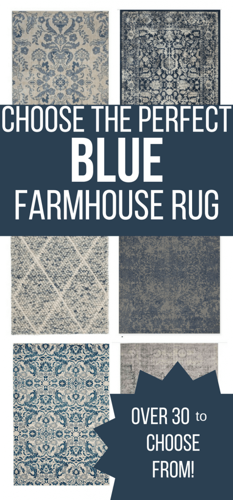 I've already done all the shopping for you!  This guide for blue farmhouse rugs will help you choose the perfect rug for your space!  Read on to find the exact farmhouse rug you are looking for. #TwelveOnMain #farmhouse #rugs #homedecor