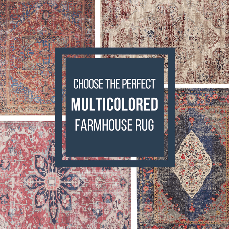 If you want to incorporate a bit of color into your farmhouse style decor, check out the huge collection of multicolored farmhouse rugs for your home.