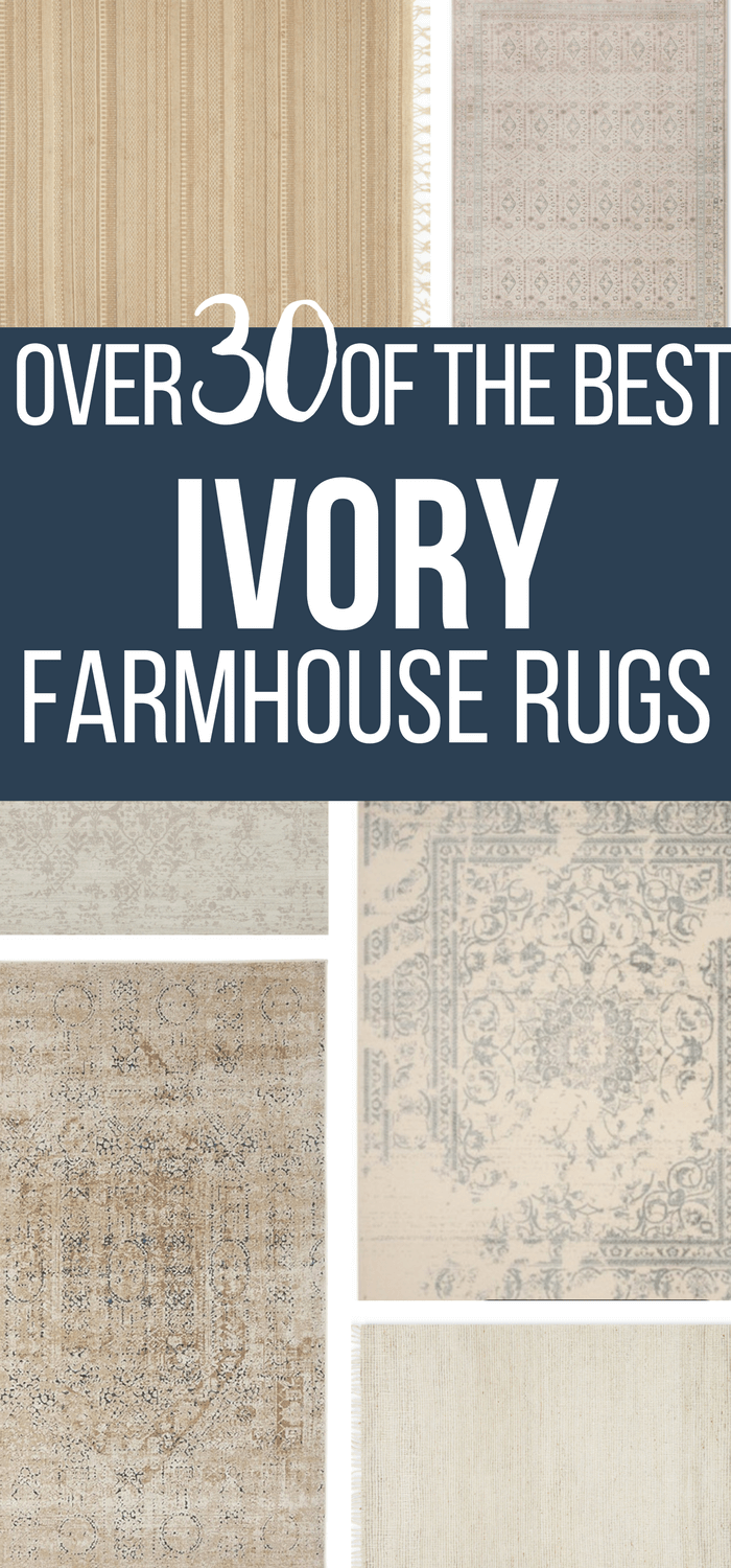 Check out this stunning collection of ivory farmhouse area rugs and be inspired to add one of them to your homes decor today!  #TwelveOnMain #farmhouse #farmhousestyle #rugs #homedecor