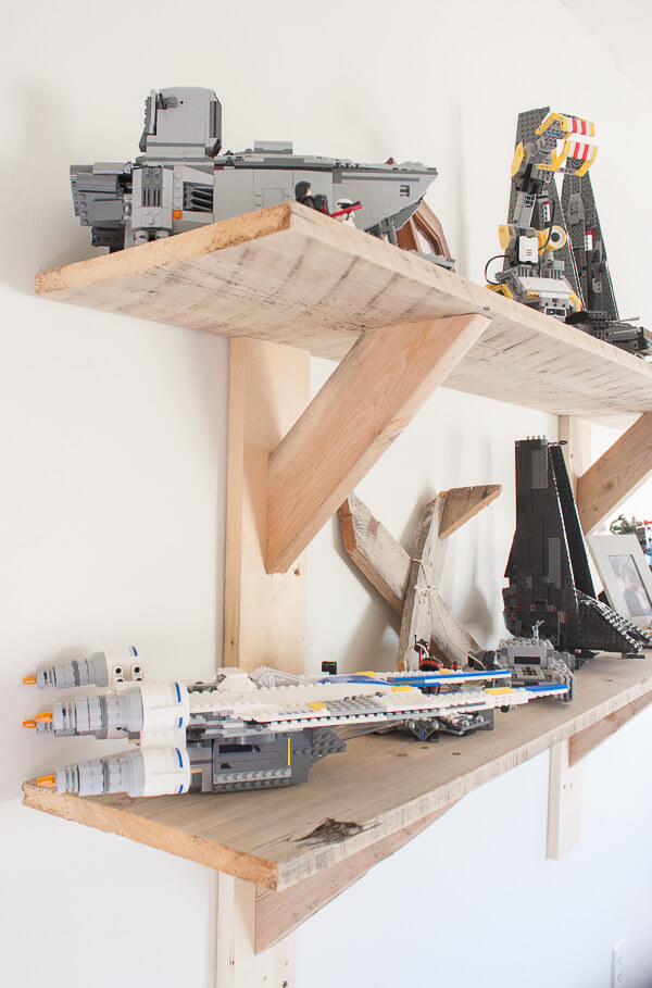 These rustic shelves are perfect to store and display my sons Lego collection in style!