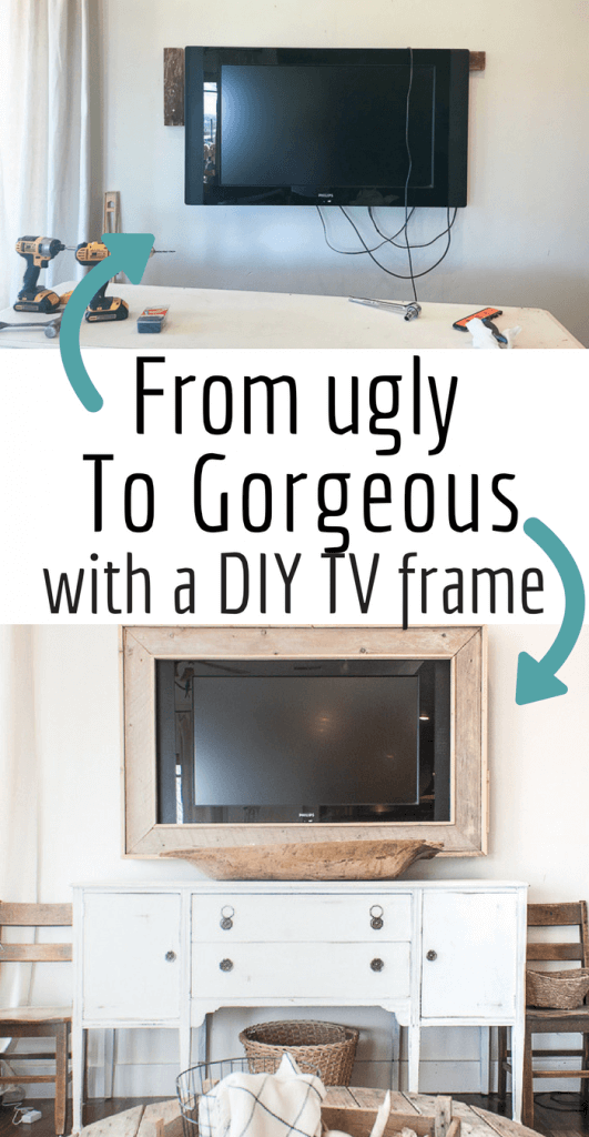 Want to hide that ugly television?  Make your own TV frame with this simple DIY tutorial and create a stylish look for your home. #TwelveOnMain #rusticdecor #diyprojects #homedecor #farmhousetyle