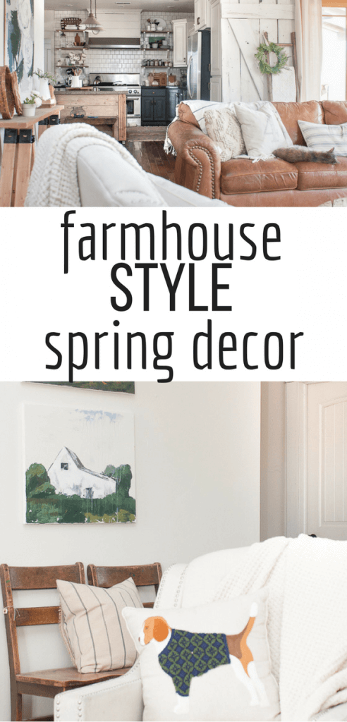 Farmhouse spring home decor for the win! Custom landscape artwork as well as abstract floral art. Beautiful muted colors with pops of green and fun touches of whimsy #TwelveOnMain #farmhousedecor #springdecor