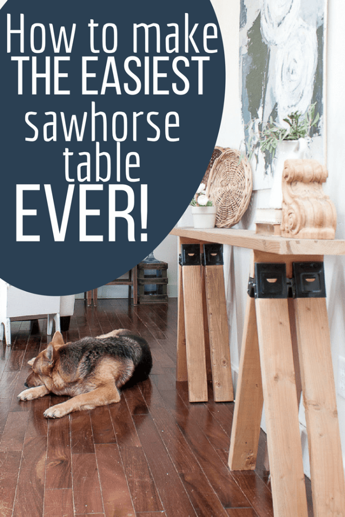 Want to add some rustic, industrial style to your home without spending much time? I want to teach you how to make the easiest wooden sawhorse table ever!  This DIY project was started and completed in under 1 hour! #TwelveOnMain #diyproject #homedecor #rusticdecor