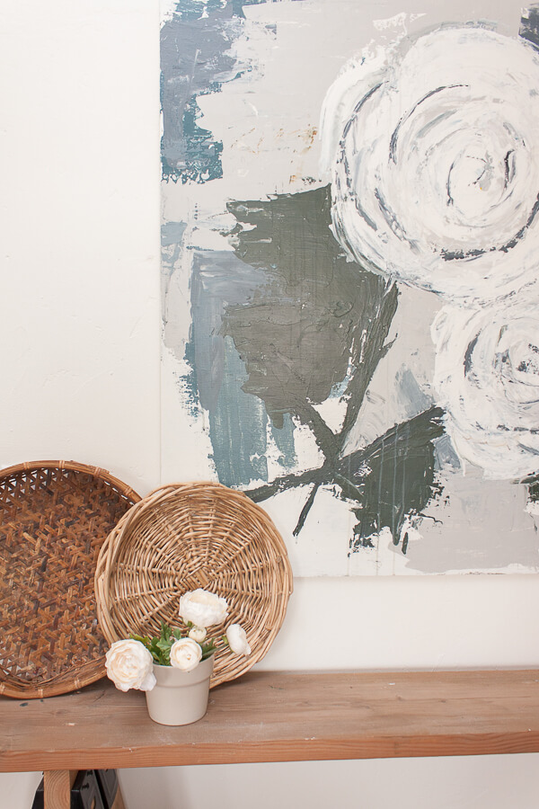 Farmhouse style abstract flower painting by Sara Syrett @TwelveOnMain