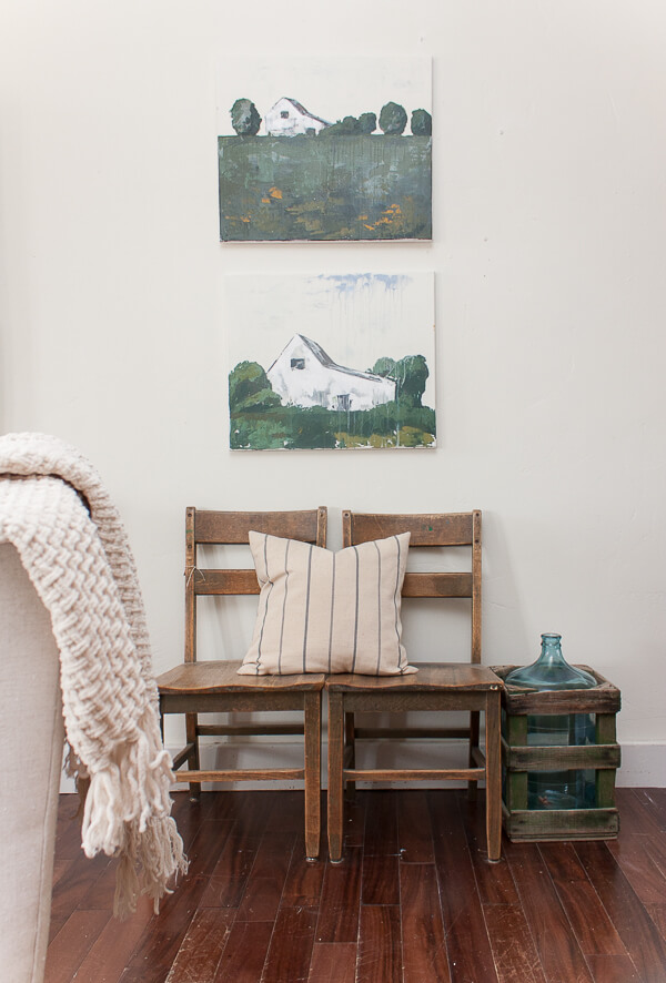 Farmhouse style landscape artwork! Love this whole home tour! Farmhouse spring home decor for the win!
