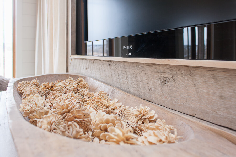 Rustic style TV frame made from weathered wood!