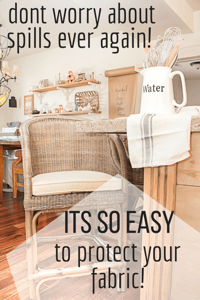 Want to protect and waterproof fabric like a pro? Check out how easy it can be to protect interior fabric on surfaces such as dining chairs, bar stools, and pillows! You will not believe how easy it is! #TwelveOnMain