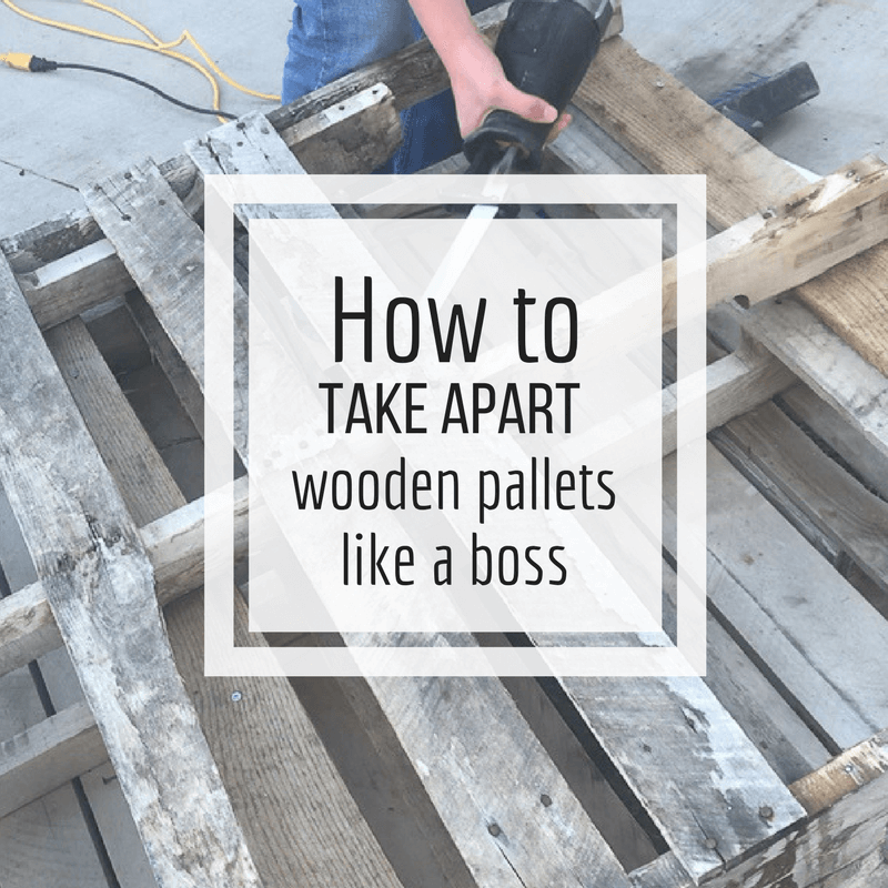 Check out this post on how to take apart wooden pallets like a boss! No more sweating and cursing! It really is so easy, even I can do it! #TwelveOnMain #pallets #woodenpallets #diy #diyprojects