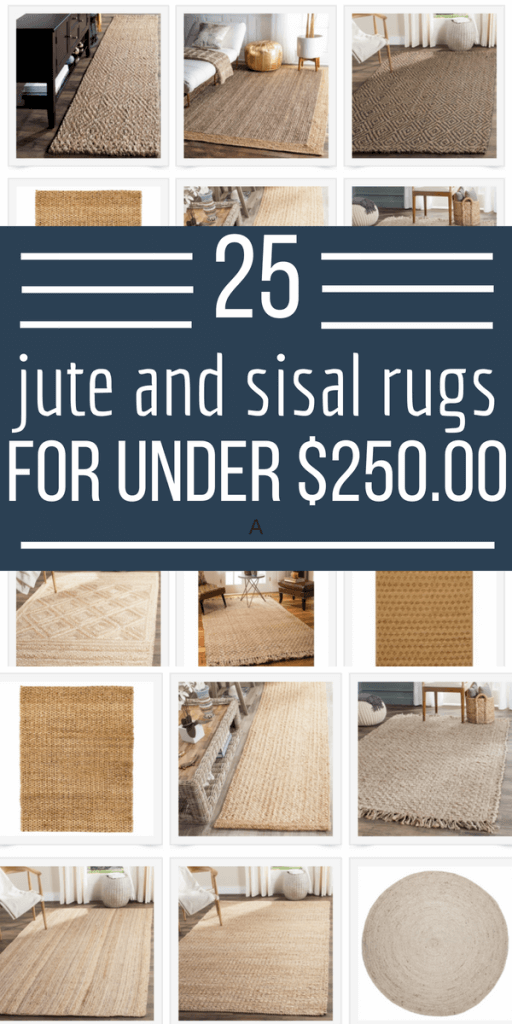 25 large natural fiber rugs like Jute and Sisal for under $250 dollars!