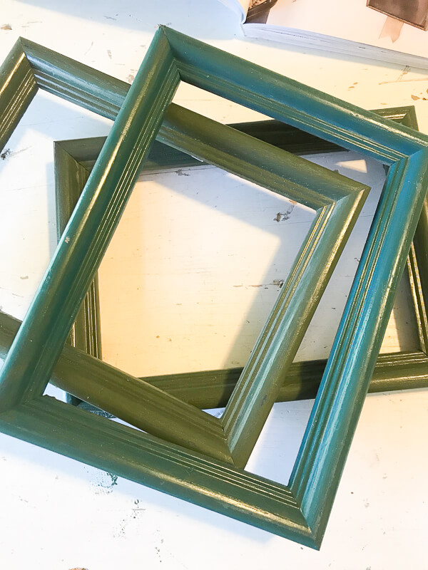 Thrift store frames to vintage aged mirrors!