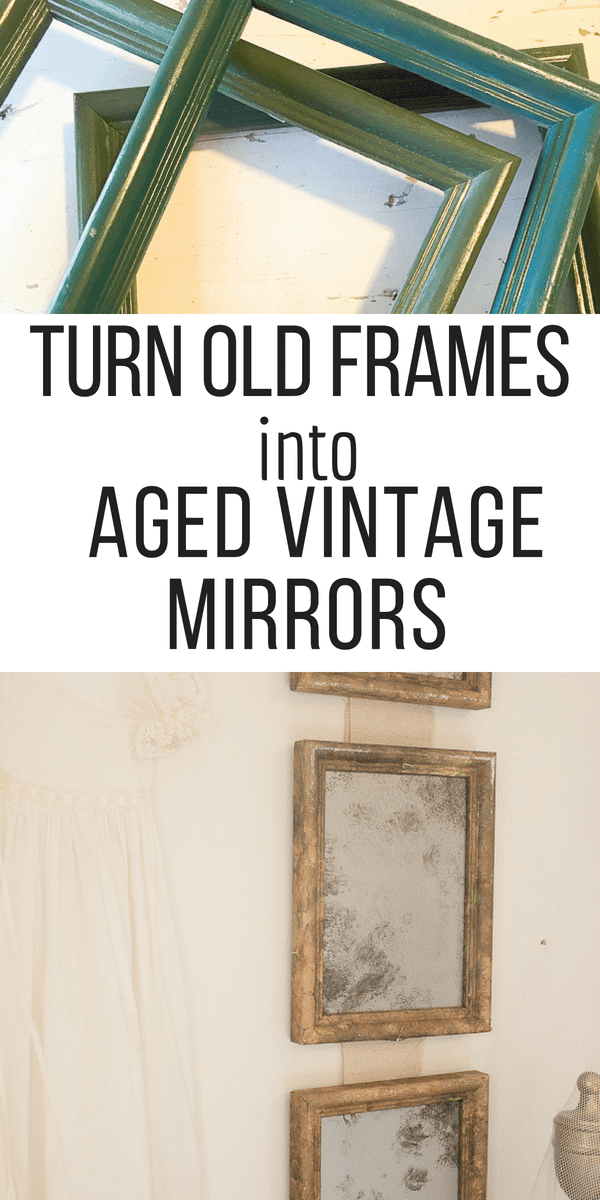 Transform old thrift store picture frames into amazing french style aged vintage mirror set!  I wish I had done this sooner!  Check it out here!  #TwelveOnMain #thriftstore #frenchvintage #vintagemirror #vintagedecor