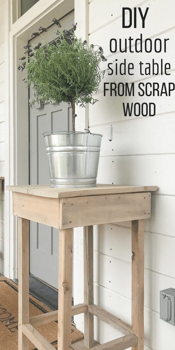 Create a simple outdoor side table for your porch or by your front door using scrap wood!  Even if you purchase wood, it will only cost you about 30 dollars!  #TwelveOnMain #outdoordecor #porchdecor #diy #diyproject #reclaimedwood #farmhouse #farmhousestyle