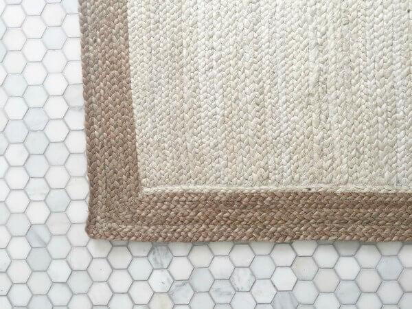 Simple hex farmhouse tiles used in the bathroom!