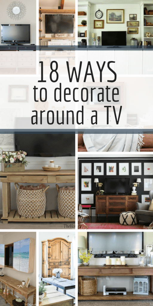 Want to decorate around a TV in your home, but just don't know what to do?  Check out these amazing ways to dress up a TV and create a beautiful space! #decorideas #homedecor #livingroomdecor