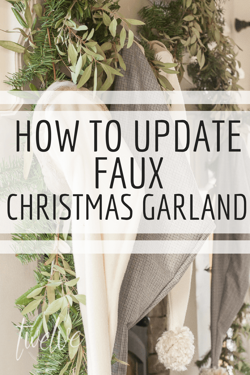 How to update cheap faux Christmas garland with these easy steps~  It will take you about an hour and you will enjoy them all season long! #TwelveOnMain #Christmas #Christmasdecor