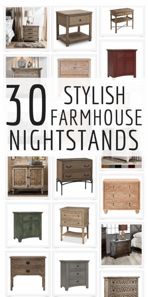 Over 30 stylish farmhouse nightstands that will take your bedroom from blah to amazing!  Plus bonus tips on how to choose the right nightstand for your room! #TwelveOnMain #farmhouse #farmhousedecor #homedecor