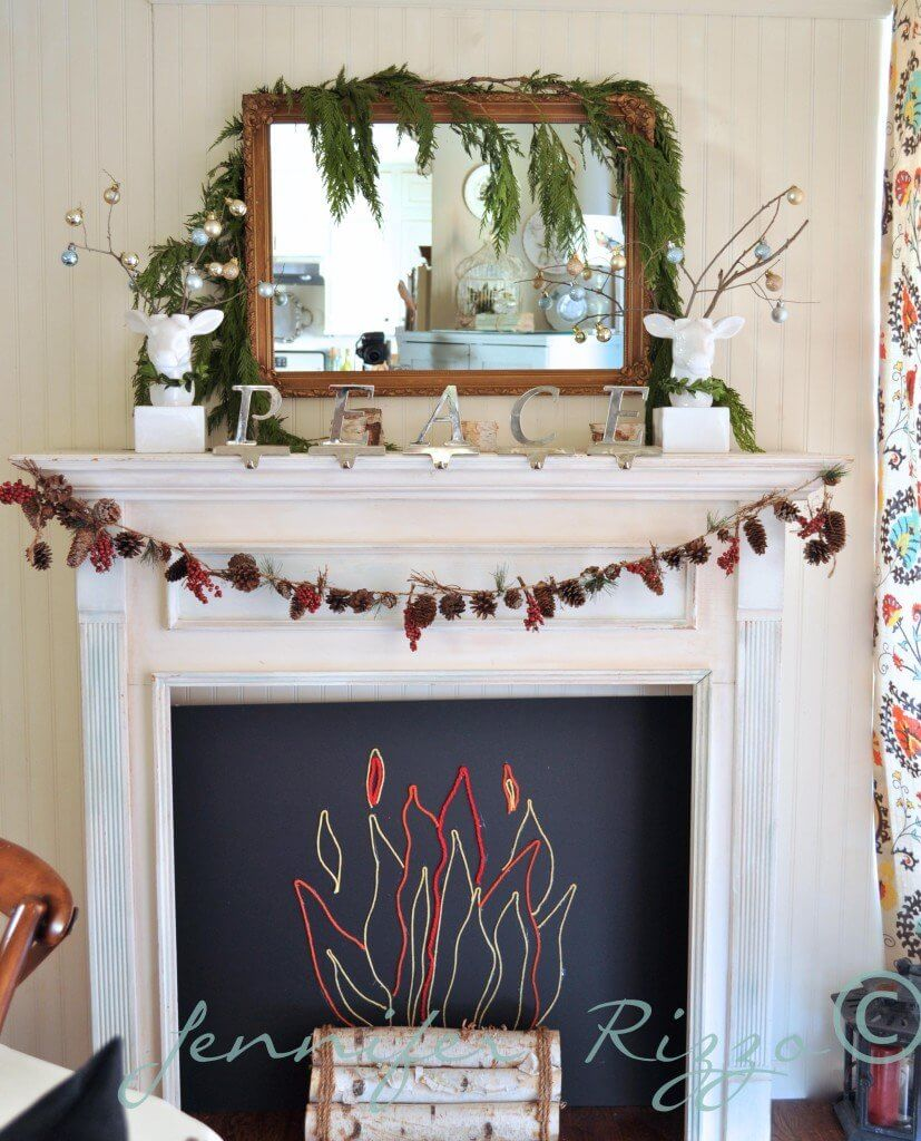 Cute faux fireplace insert made from yarn