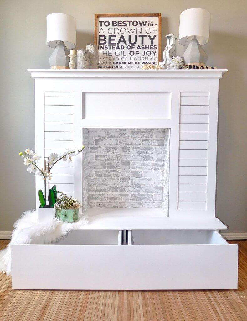 Handmade DIY faux fireplace ideas with storage