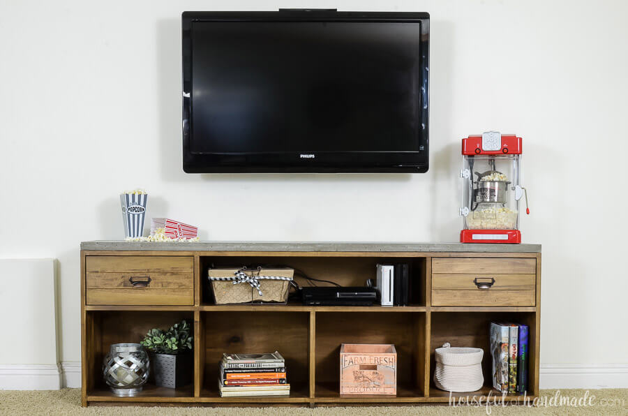 Build your own TV console and decorate around your TV