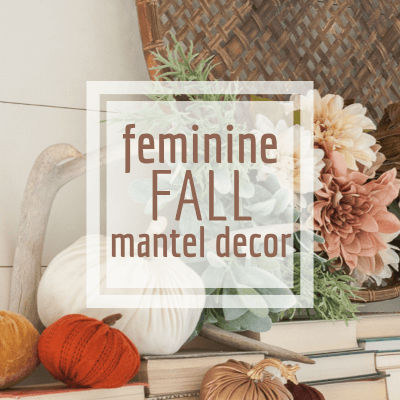 Upcycled Fall Mantel Decor with Flowers, Books, and Pumpkins