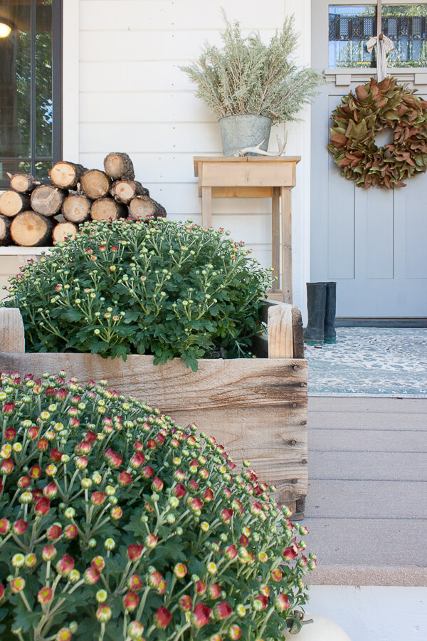 Mums, magnolia wreath, and firewood for a cozy and relaxed fall decor on the porch