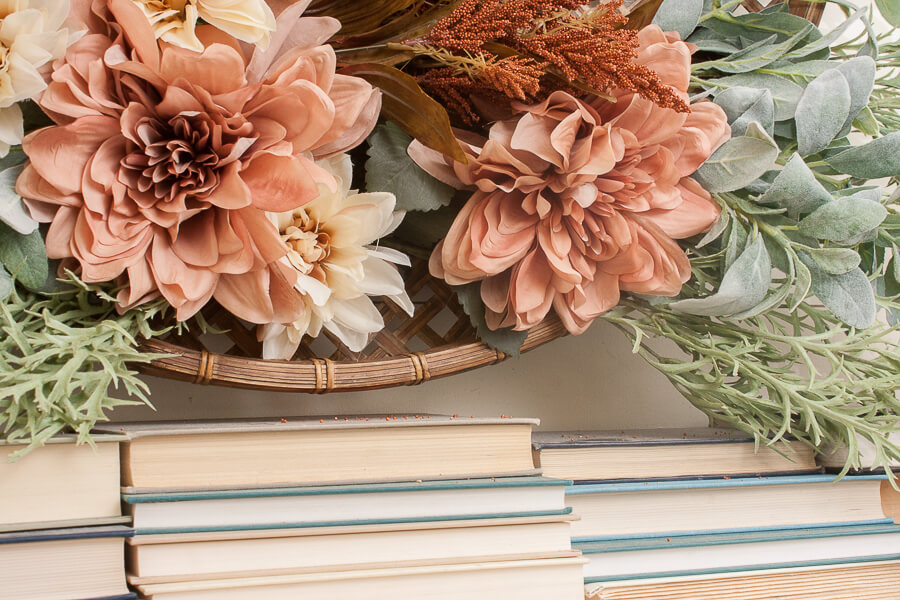 Love the way these flowers look on this simple fall mantel decor