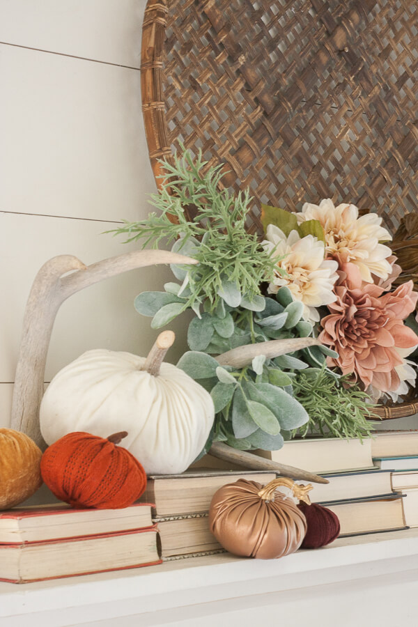 Feminine and rustic fall mantel decor combined!
