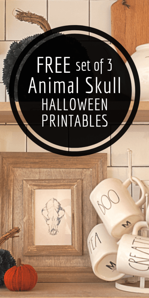 Add chic and stylish Halloween decor to your home with this set of 3 animal skull Halloween printables