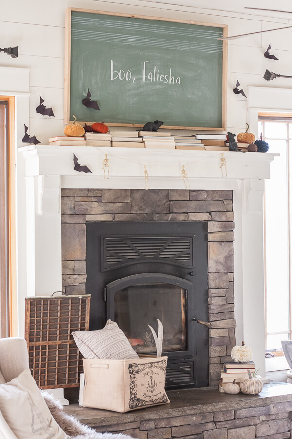 Chic and stylish Halloween fireplace and mantel decor