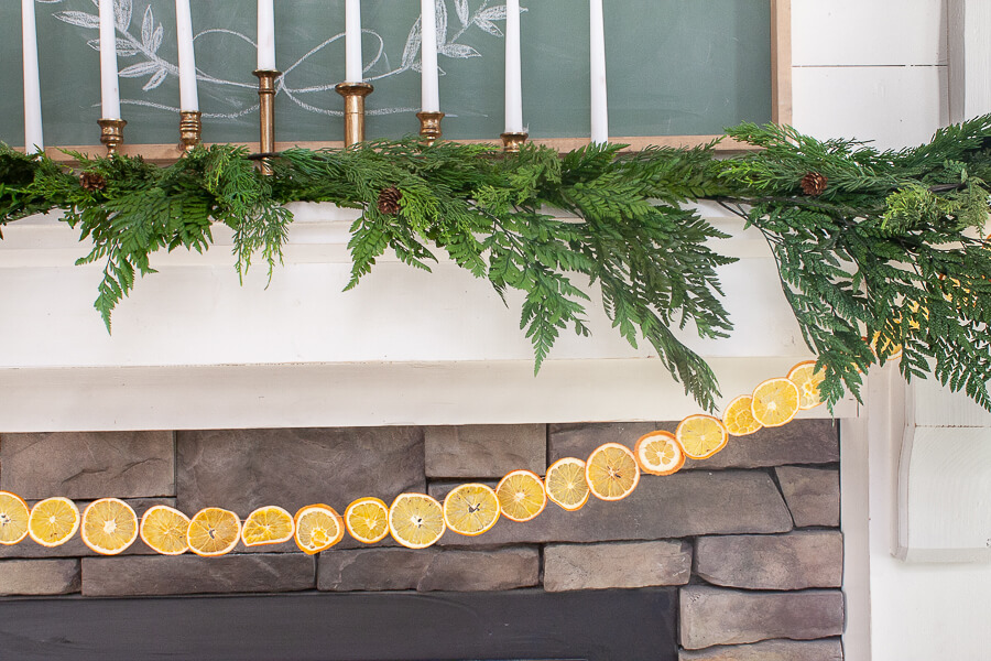 Dried orange slice garland on my Scandinavian inspired Christmas mantel.