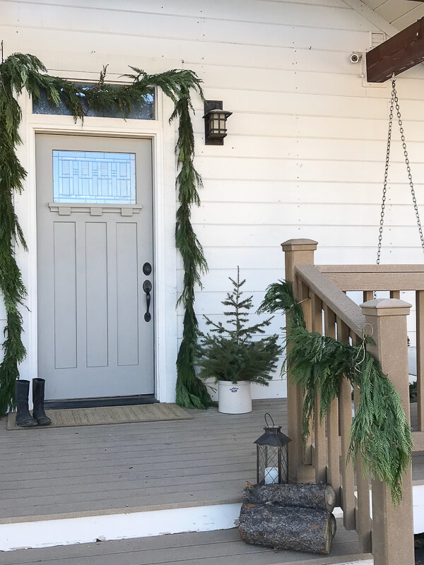 Scandinavian inspired Christmas decor on the porch