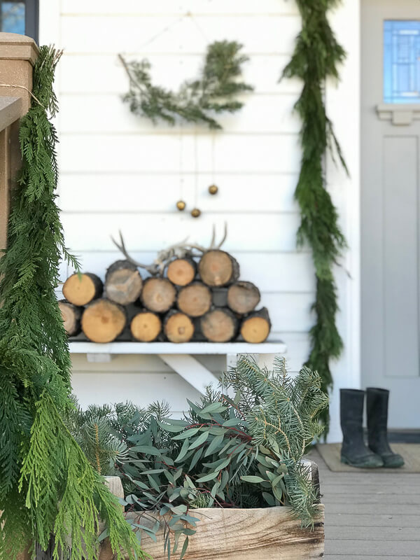Scandinavian porch decor for Christmas