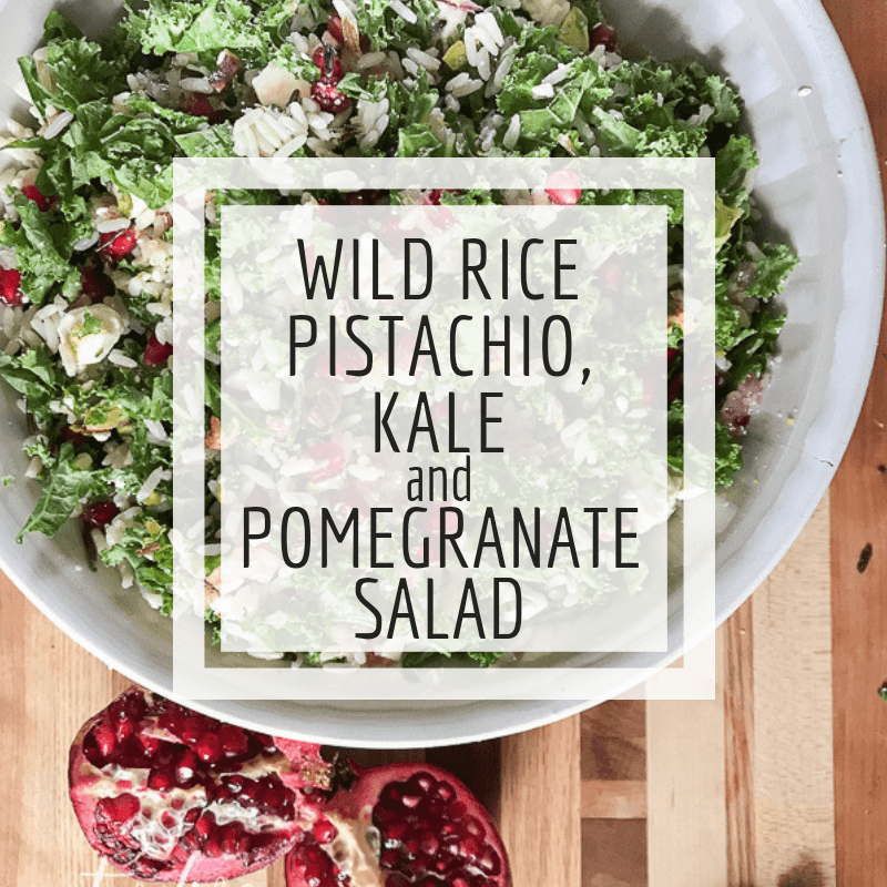 Looking for a super tasty and unique side dish to make for your next get together?  Or maybe you want a new potluck for your Christmas party?  Try this colorful wild rice, kale, and pomegranate salad.  Its a hit with adults and kids too.  My kids beg me to make this tasty salad.