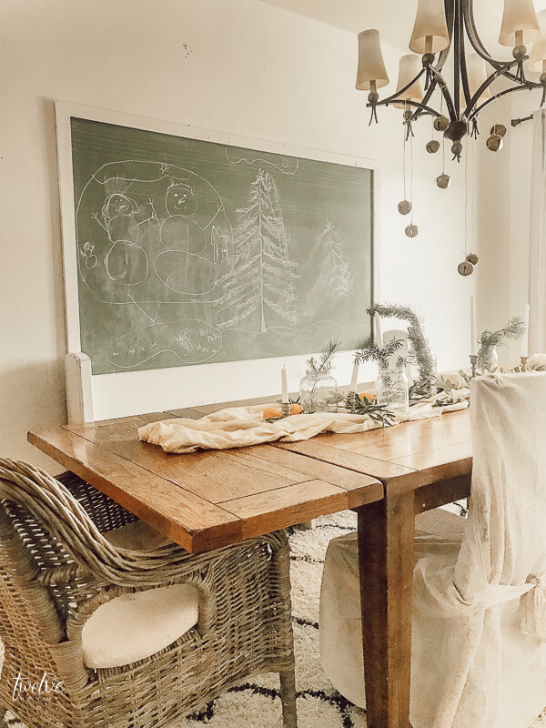 Vintage green chalkboard in the dining room so the kids can create and have fun!