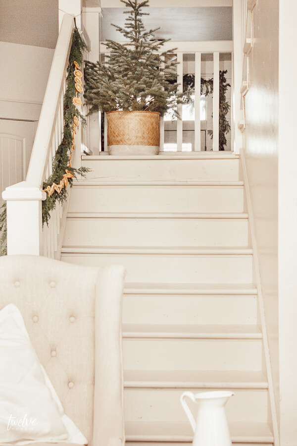 Simple Christmas decor with white stairs